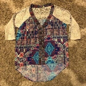 Gimmicks by BKE Tapestry, Aztec Lace Button Up Top